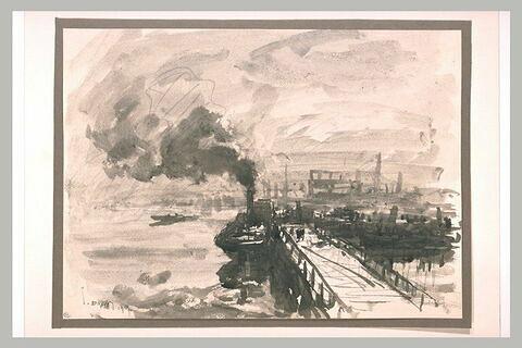 Bateau à vapeur amarré à quai dans un port embrumé