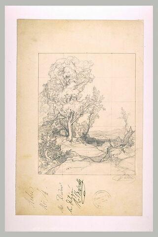 Faune assis jouant de la flûte devant un bouquet d'arbres dans un paysage