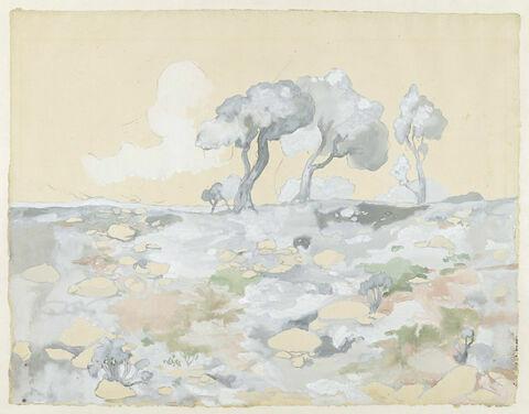 Paysage aux tons nacrés: groupe d'arbres au feuillage dense dans une plaine