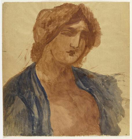 Jeune fille ocre et bleu, vue à mi-corps, la poitrine à moitié nue