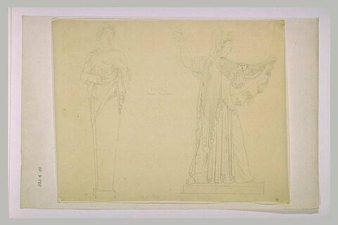 Statue d'adolescente en Hermès, et d'Athéna