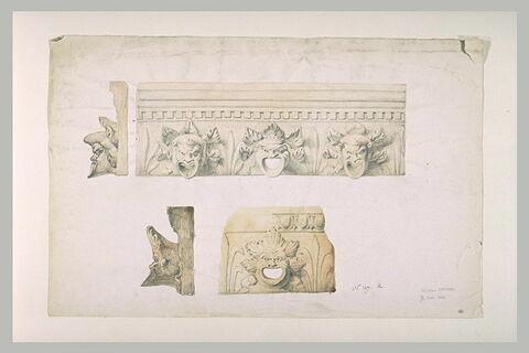 Etudes de plaques de terre cuite et de corniche avec masques de grotesques