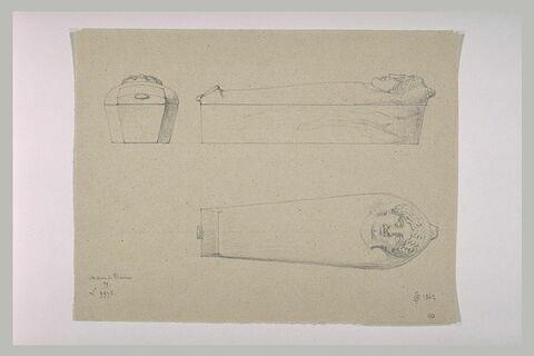 Sarcophage orné d'une tête féminine, vu de dessus et de profil