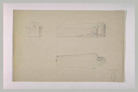 Sarcophage orné d'une tête d'homme, vu de dessus et de profil