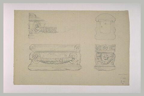 Sarcophage orné vu de face et en coupe
