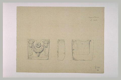 Coupe transversale et latérale d'un sarcophage orné de guirlande