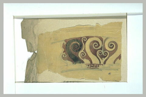 Motif décoratif de vase antique avec grecques et volutes
