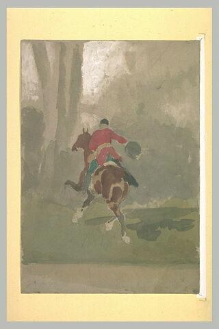 Cavalier s'élançant, lors d'une chasse à courre