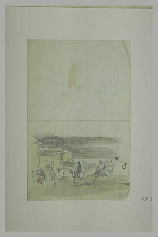 Scène de guerre : soldats à cheval près d'habitations