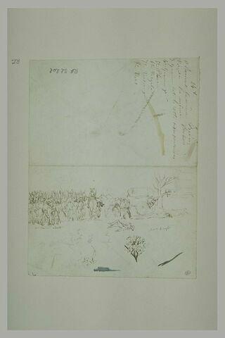 Scène de guerre : blessés dans un champ de bataille et annotations