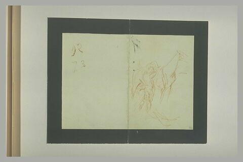 Personnage près d'un cheval et note manuscrites au verso