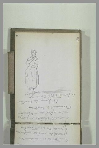 Femme debout, et texte manuscrit : 'L'Auberge du Gd St Hubert...'