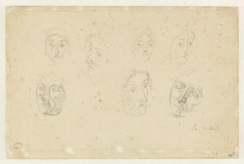 Sept études de têtes de femme, vues de face