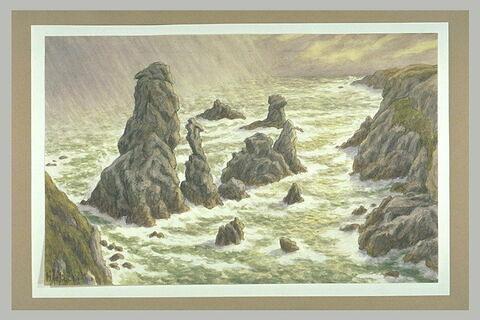 Mer agitée aux aiguilles de Port-Coton, à Belle-Isle-en-Mer