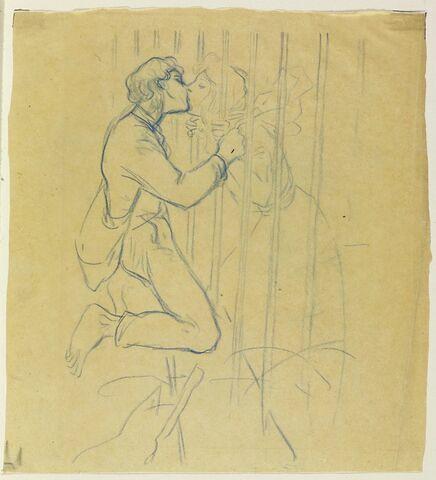 Baiser : un couple s'embrassant, séparé par des barreaux