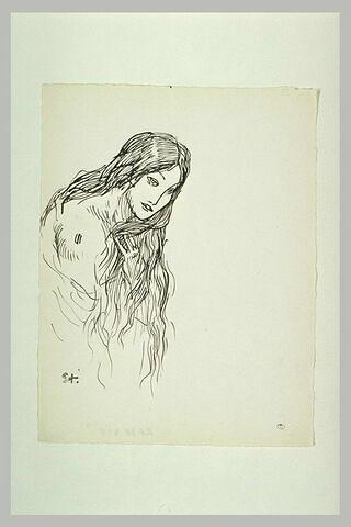 Tête de femme, à la longue chevelure dénouée