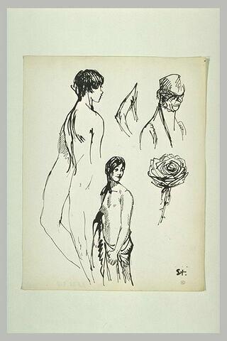 Croquis divers : femmes, rose, homme en buste, jambes