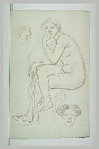 Femme vue, debout, tenant une draperie ; une tête ; un bras