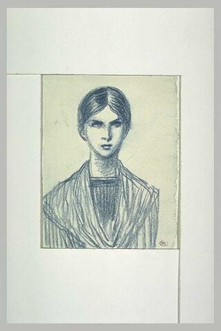 Jeune femme en buste, un fichu sur les épaules