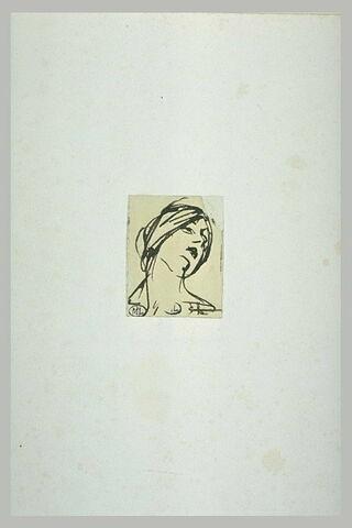 Tête de femme, de face, inclinée à droite