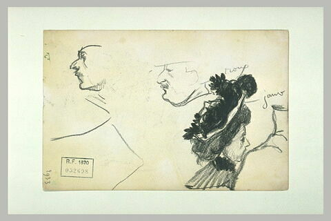 Croquis de têtes d'hommes et d'une femme au chapeau enrubanné