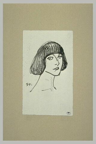 Tête de femme, regardant vers la gauche, coiffée d'une frange