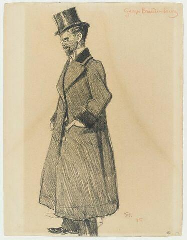 Homme debout en pardessus et chapeau haut de forme