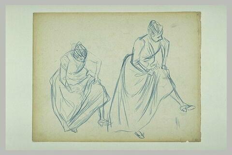 Deux études d'une femme penchée en avant et regardant sa chaussure gauche
