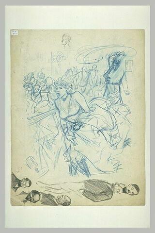 Jeune femme chassée par un homme qui fait tournoyer un fouet, et têtes