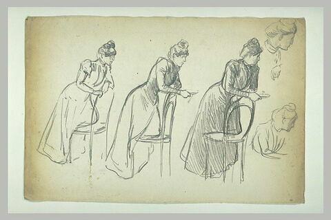 Cinq études d'une femme portant un chignon