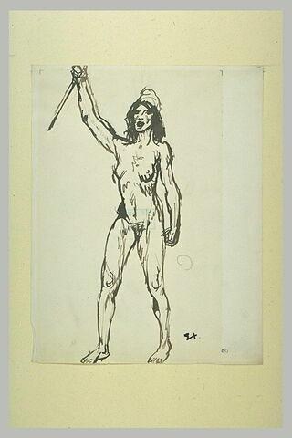 Femme nue, debout, coiffée du bonnet phrygien, brandissant un bâton