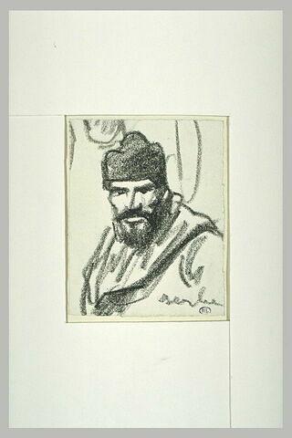Homme vu en buste, barbu, coiffé d'un bonnet de laine