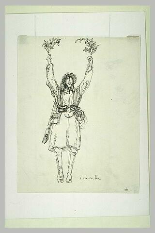 Soldat debout brandissant dans ses deux mains une branche de laurier