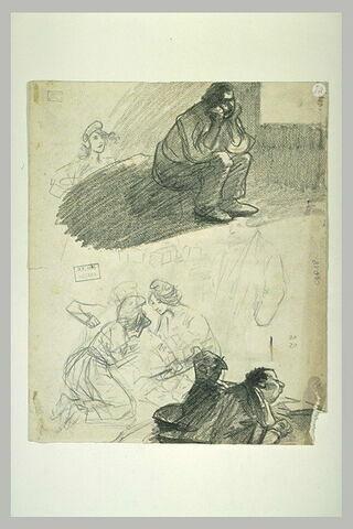 Prisonnier assis, femme coiffée d'un bonnet phrygien et divers personnages