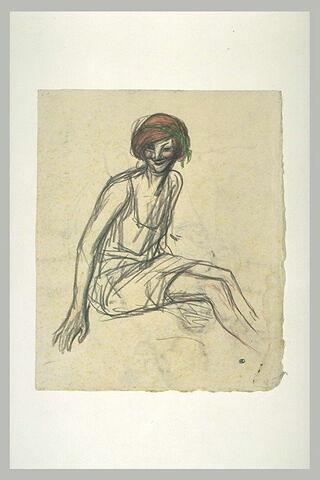 Femme à la chevelure rousse ceinte d'un ruban vert, assise