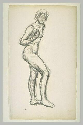 Etude de femme nue, debout, la main droite couvrant le sein droit