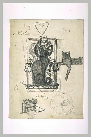 Un chat de profil se détachant dans un rectangle, la tête sur une auréole
