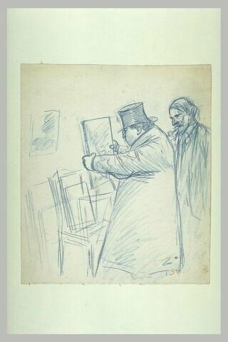 Deux hommes regardant une toile