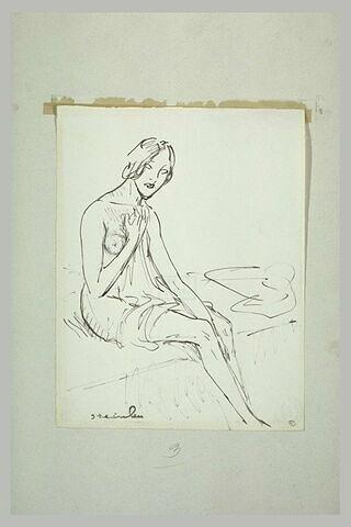 Femme assise, nue, se cachant la poitrine