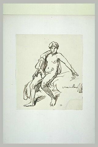 Femme nue, assise, de face, un linge sur l'épaule droite