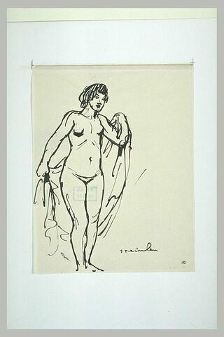 Femme nue, debout, tenant un linge