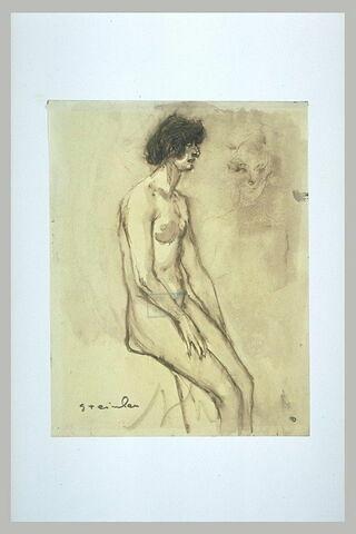 Femme nue, assise, mains sur les cuisses, et tête de femme, de face