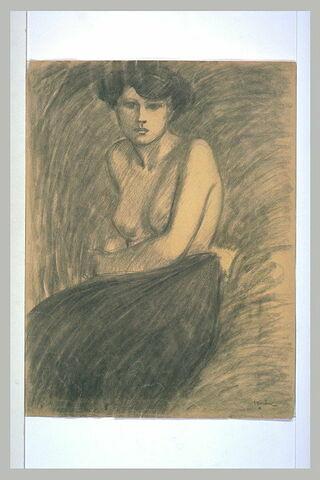 Femme assise, la poitrine nue
