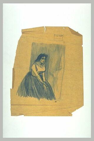 Femme assise, les bras posés sur sa jupe