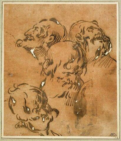 Etudes de quatre têtes de vieillards