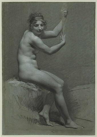Etude de femme assise à droite, les bras levés