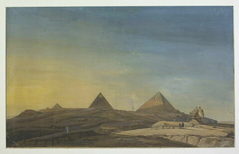 Les pyramides de Memphis, le Sphinx, au soleil couchant