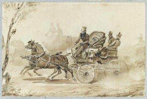 La calèche tirée par deux chevaux, dirigés par un homme avec un fouet