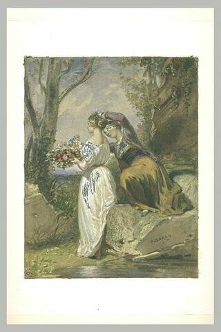 Deux jeunes femmes près d'une source