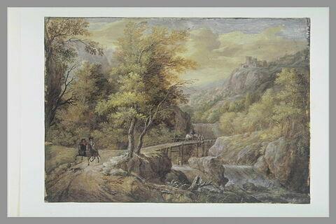 Paysage montagneux : torrent, pont de bois, cavaliers et passants